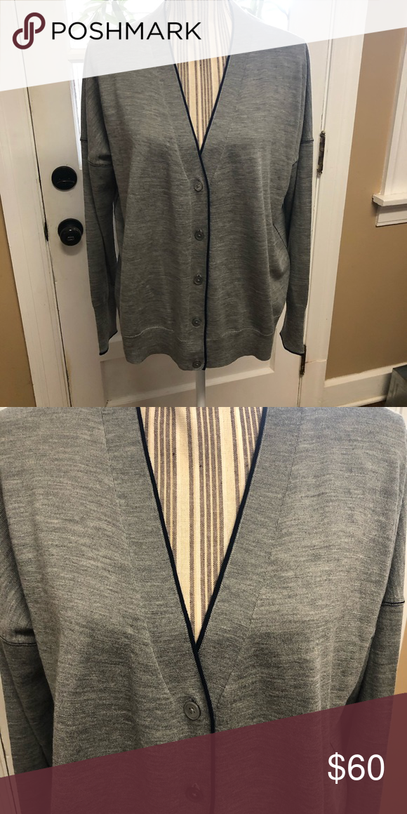 J. Crew merino wool tipped cardigan sweater | Clothes design