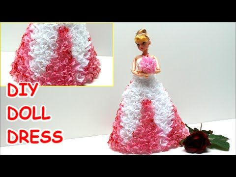 How to Make a Princess/Prom Doll Dress DIY from Tissue Paper - Doll Dress Fun - YouTube