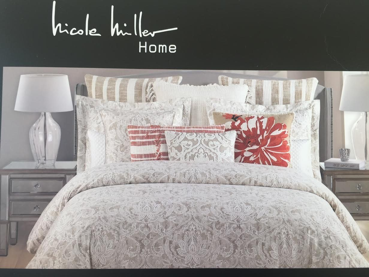 Nicole Miller Brown Beige Tan White Fl King Comforter Set 6 Pieces