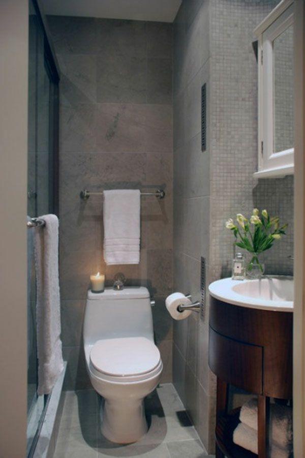 badeeinrichtung ideen - wand in grau und weiße toilette - 77, Moderne deko