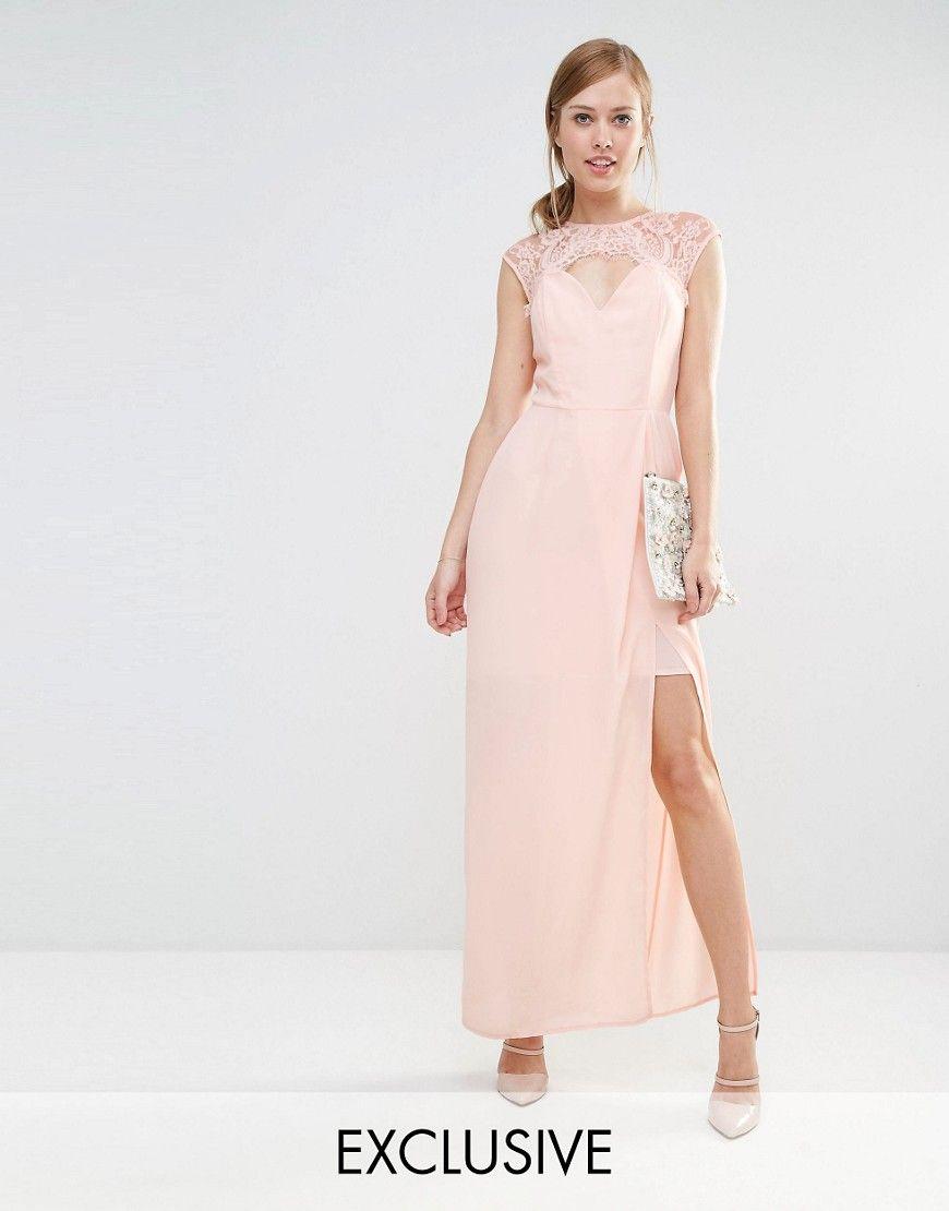 Imagen 1 de Vestido largo con escote en forma de corazón y ribete de encaje  de puntilla de Elise Ryan 9b6b1e109f7