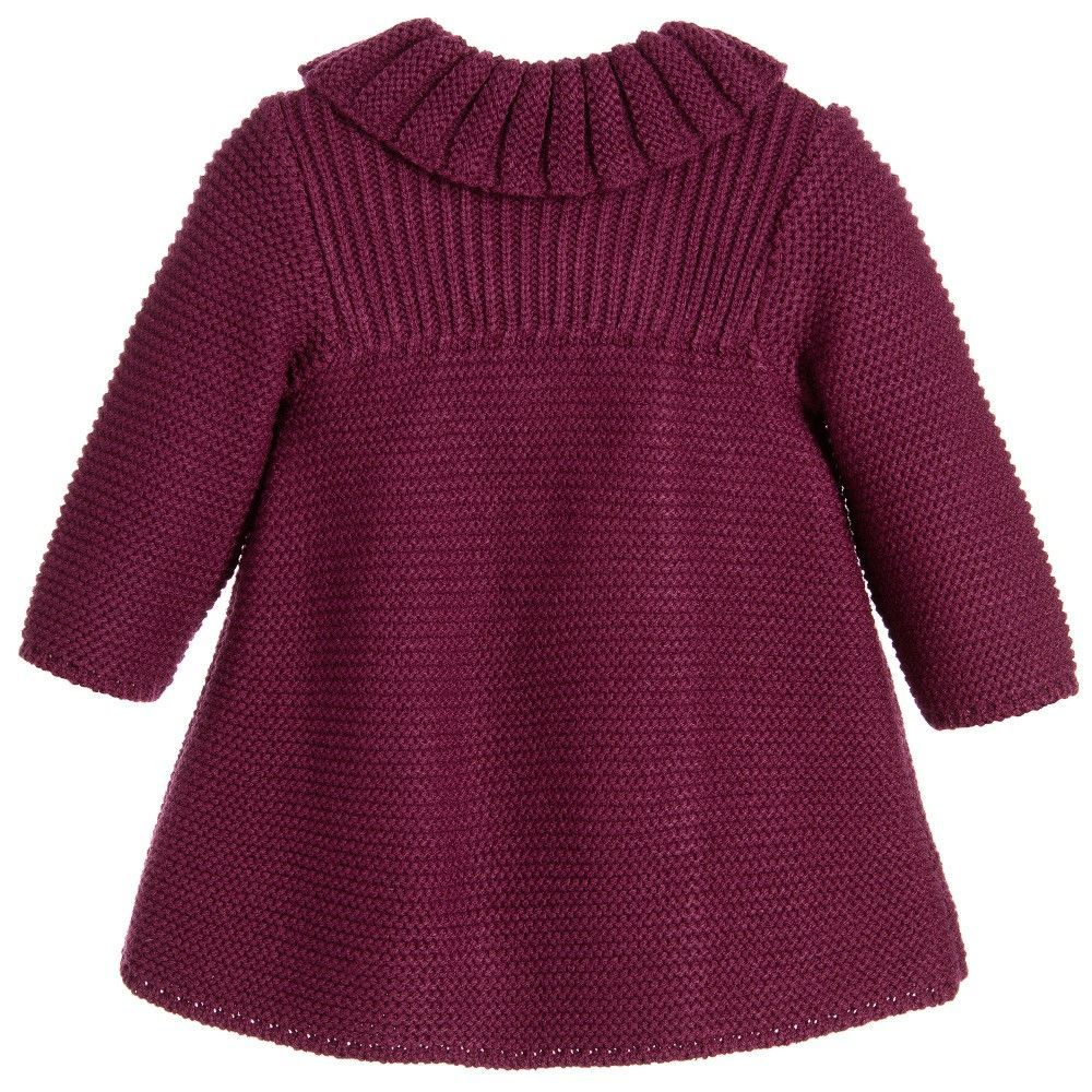 40a8ecf9c103 Baby girls burgundy red traditional heritage style knitted coat and ...