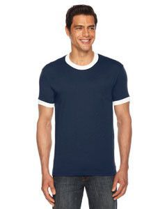 American Apparel Unisex Poly-Cotton Short-Sleeve Ringer T-Shirt BB410 NAVY/WHITE