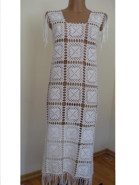Bridal crochet long dress, white elegant