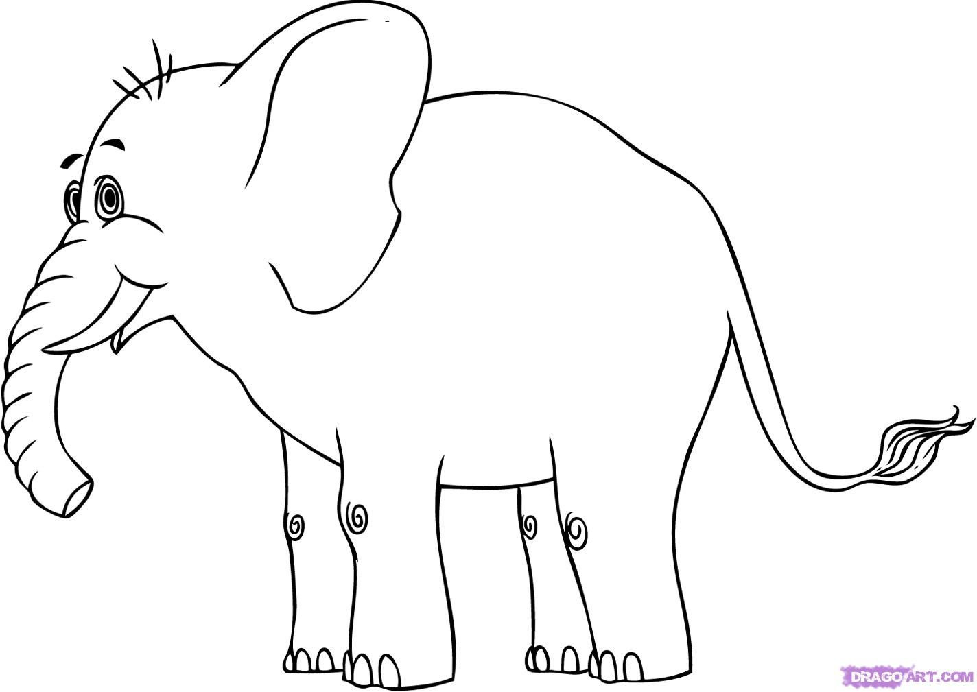 how to draw a cartoon elephant step 5 | Tree murals | Pinterest ...