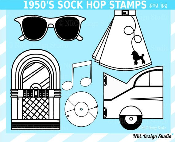 Retro Clip Art 1950's Sock Hop Digital Stamps by NRCDesignStudio ...