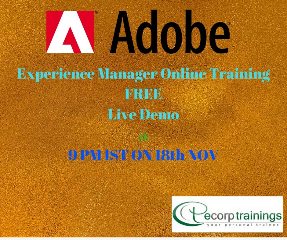 Best Institute For Learn Adobe Experience Manager Online Training In Hyderabad India Ecorptrainings Provides Online Training Corporate Training Manager Online