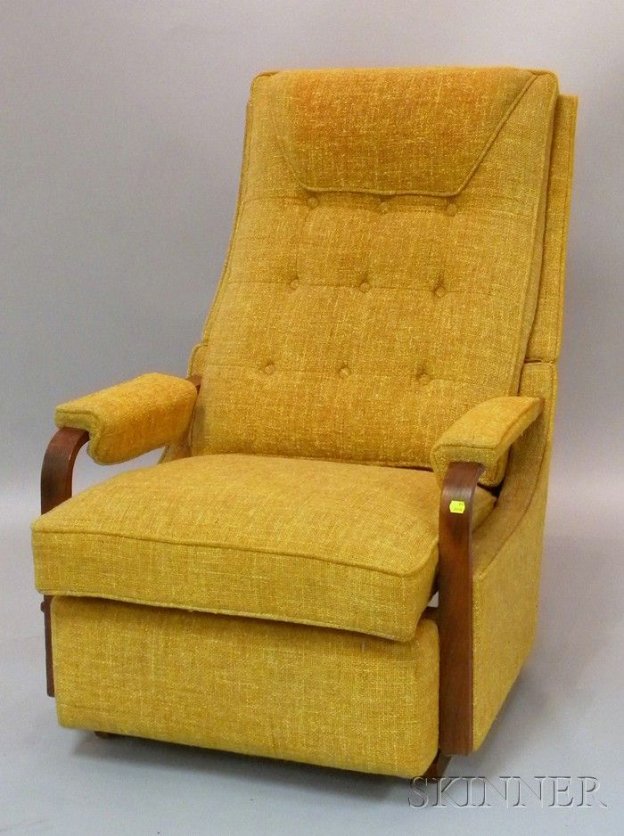 Archie Bunker's chair? MID-CENTURY MODERN LA-Z-BOY UPHOLSTERED ROCKING RECLINER. - DISCOVERY | SILVER & JEWELRY - SALE 2516M - LOT 736 - Skinner Inc