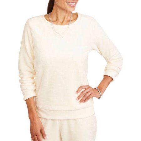 Faded Glory Women's Teddy Bear Fleece Sweatshirt, Beige