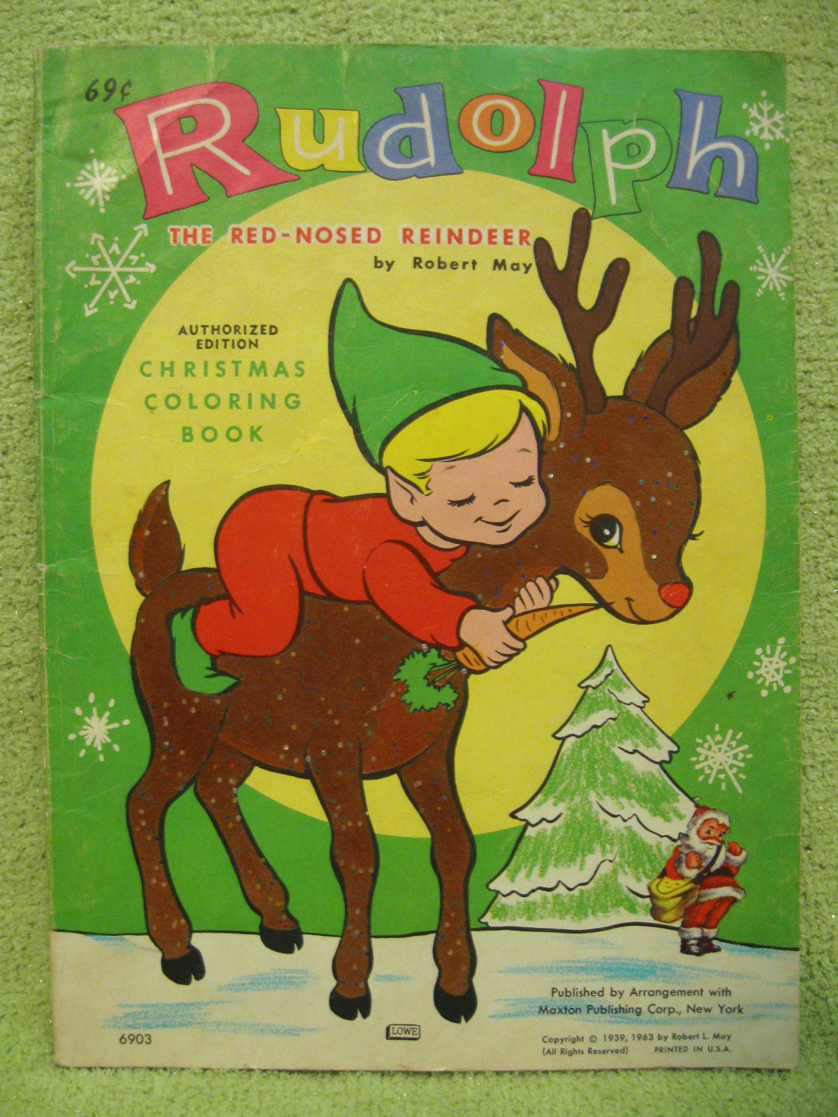 RUDOLPH the RED NOSED REINDEER Vintage Coloring Book 1963 ELF Santa ...