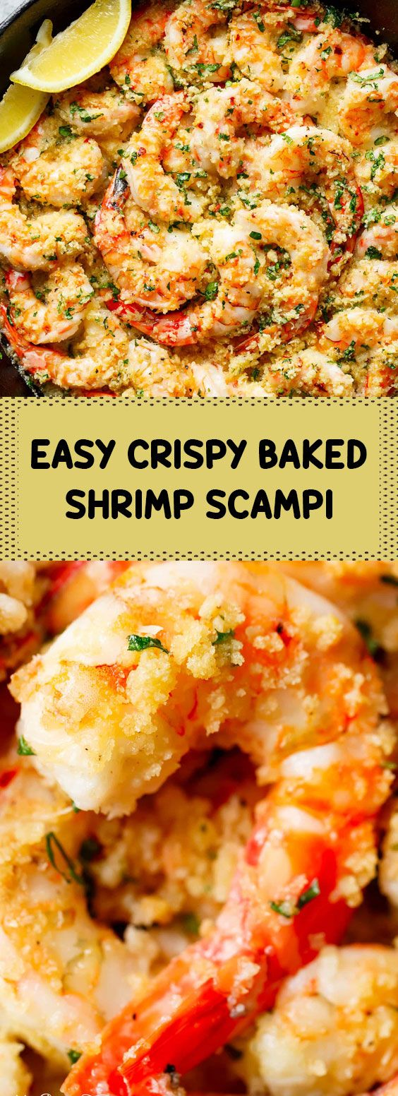 ★★★★★ 42 reviews: Easy Crispy Baked Shrimp Scampi | Oven baked shrimp topped with flavourful golden and buttery, garlic parmesan breadcrumbs. This Crispy Baked Shrimp Scampi is easy to make with a fancy restaurant flair right at home, and takes only minutes to prepare! #crispy #baked #shrimp #scampi | makerecipes.club #shrimpscampi