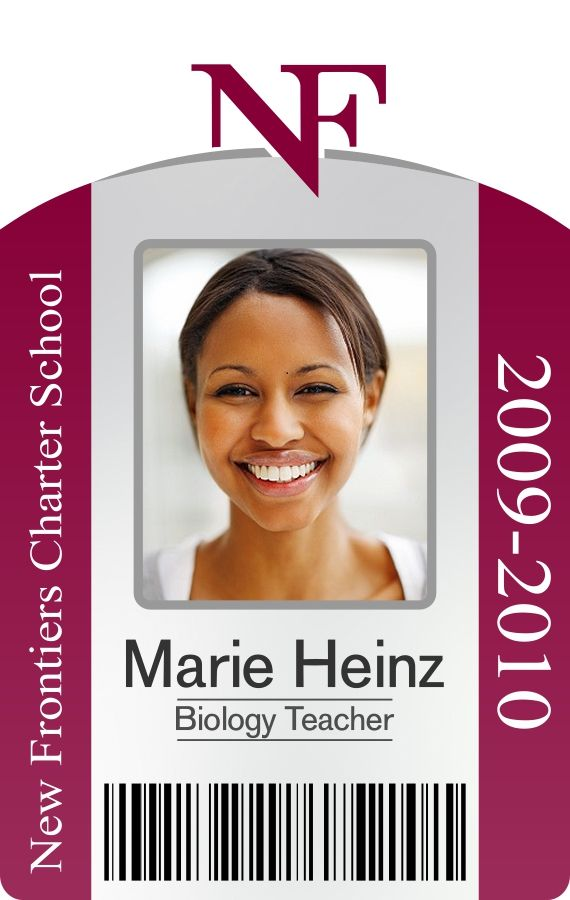 New Frontier Charter School portrait ID badge with barcode ID - id badge template