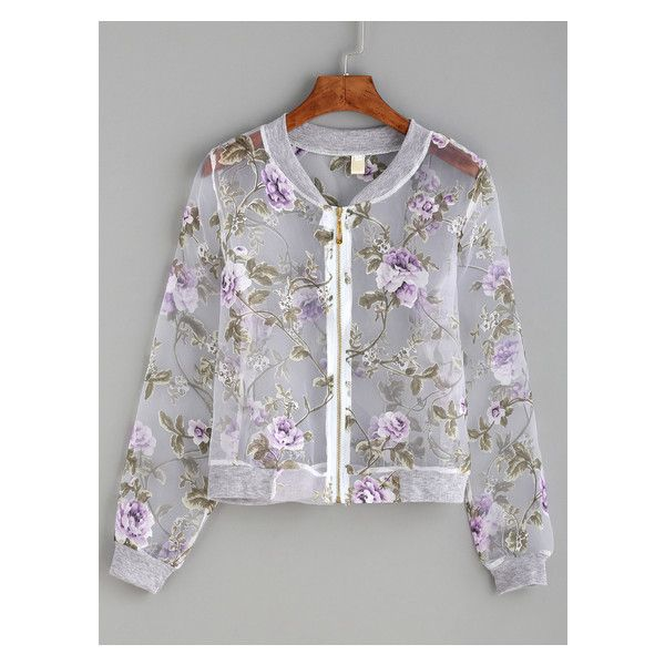 5d28a0293 Purple Flower Print Organza Bomber Jacket ($18) ❤ liked on Polyvore ...
