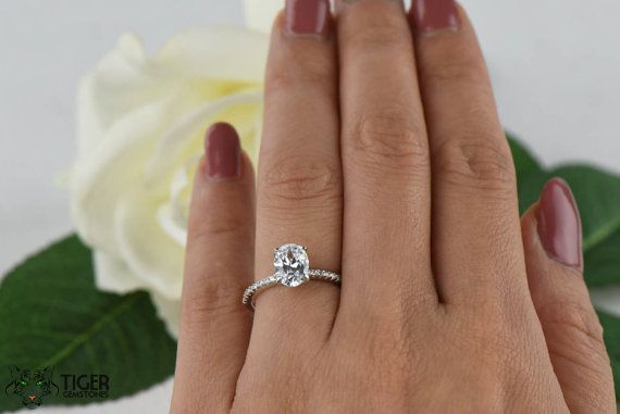 1 25 Carat Oval Accented Solitaire Wedding Ring Half Eternity Bridal Ring Man Made Diamond Simu Silver Engagement Rings Wedding Rings Solitaire Bridal Rings