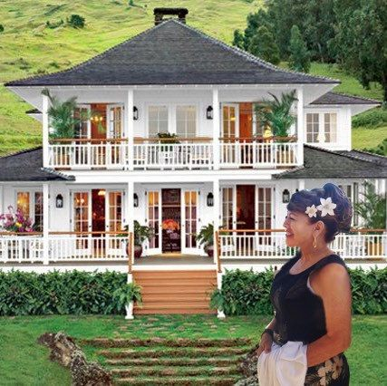 """My customer in her hair flowers in front of Oprah's Maui home in upcountry Kula. Maui is No Ka Oi meaning """"the best"""" these flowers are just stunning against a beautiful backdrop of Haleakala mountain side and this beautiful property on Maui."""