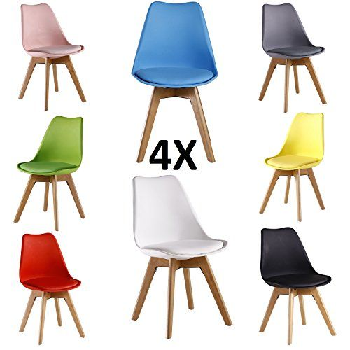 P N Homewares Lorenzo Tulip Chair Plastic Wood Retro Dining Chairs White Black Grey Red Yellow
