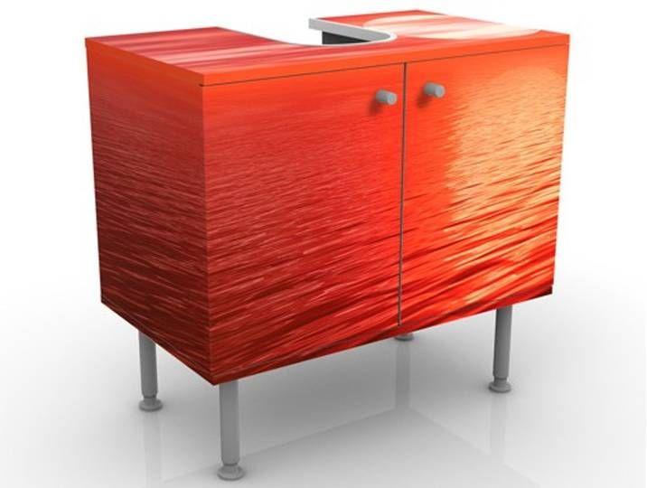 Waschbeckenunterschrank Red Sunset Badschrank Rot Grosse 55cm
