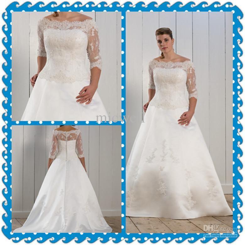 Plus Size A-line 3/4 Sleeve Sweeep Lace White Ivory Bridal Wedding ...