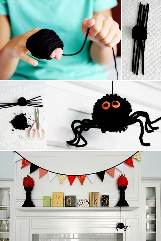 DIY Halloween hairy spider By   giftsforyourbelovedblogspot - how to make homemade halloween decorations for kids