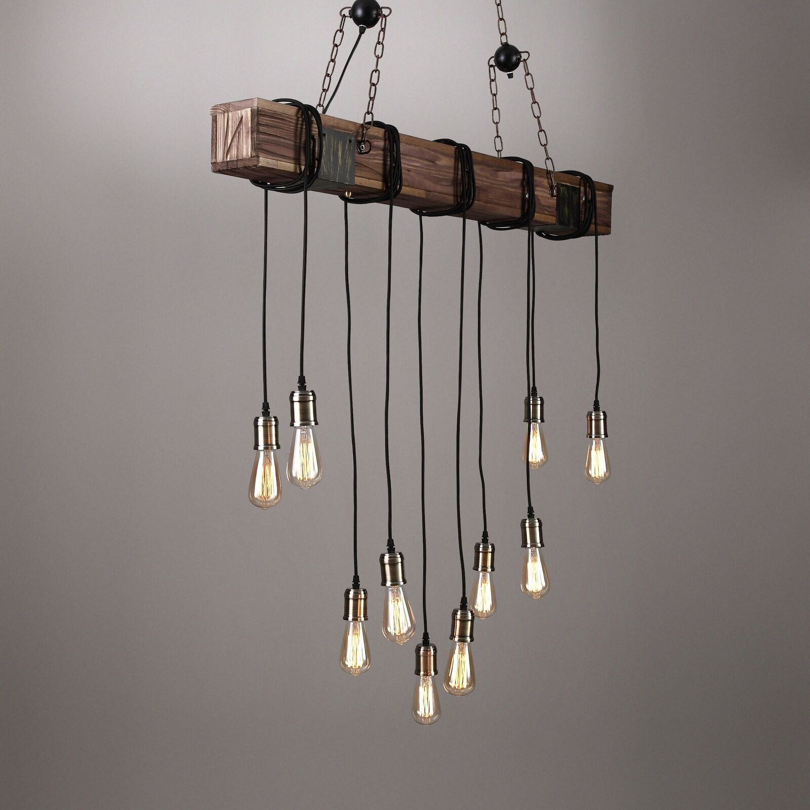 Farmhouse Wood Beam Island Hanging Pendant Light Chandelier with 10 Edison Bulb
