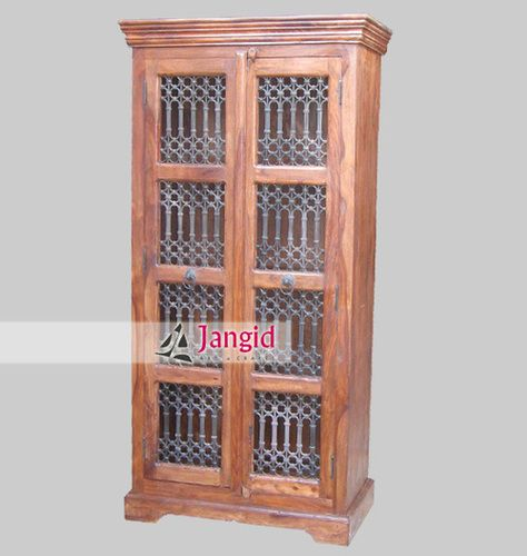 Indian Sheesham Wooden Iron Grill Fitted Almirah for UK