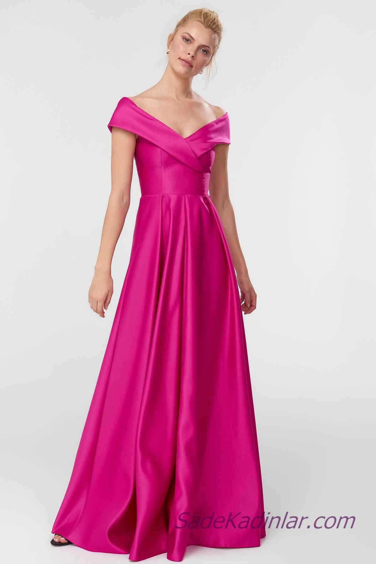 2021 Abiye Elbise Modelleri Fusya Saten Uzun Karmen Yaka Klos Etekli Elbise Modelleri The Dress Elbise