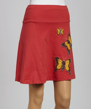 Take a look at this Brick Butterfly A-Line Organic Skirt on zulily today!
