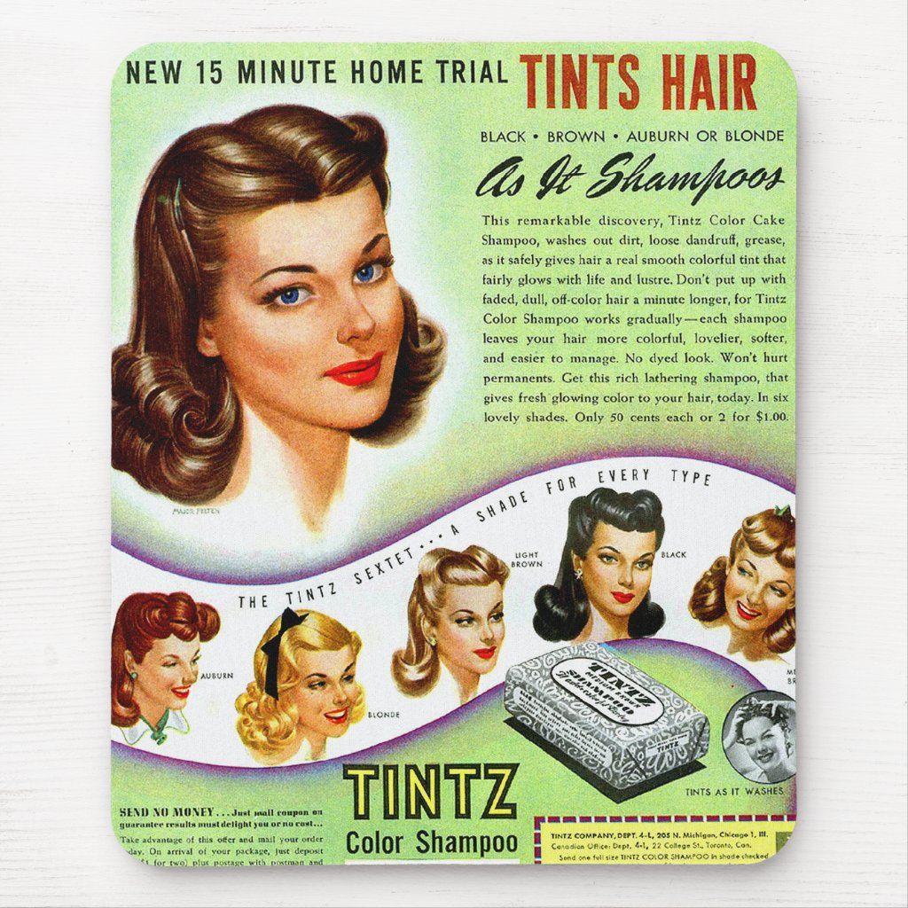 Vintage Women Hair Coloring Tintz Hair Color Mouse Pad Zazzle Com In 2020 Vintage Kitsch Hair Color For Women Vintage Ladies