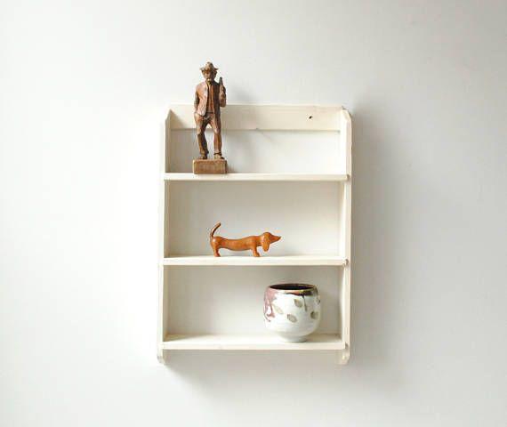 Vintage Wood Wall Shelf Small White Shelf