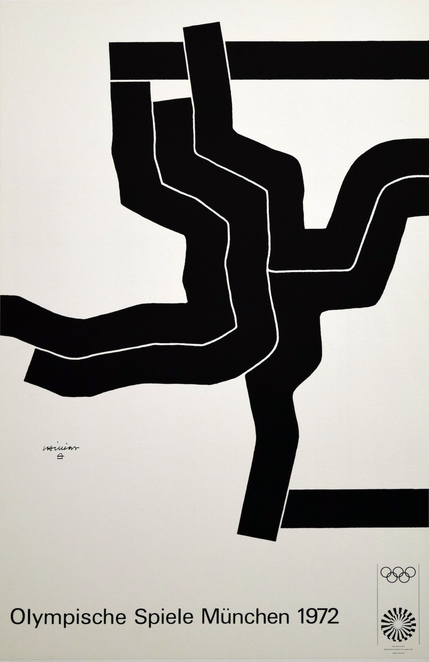 1972 Munich Olympic Poster By Lapicque Poster Cool Posters Abstract Words