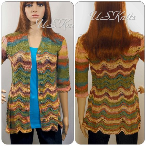 Hand knitted multicolored long jacket by UrbanStyleKnit on Etsy, $188.00 #knitting #jacket #knit