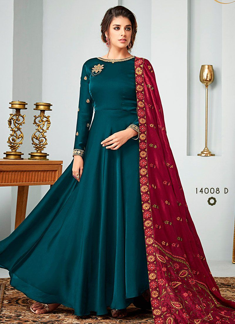 637820187 Buy Teal Green Embroidered Abaya Style Anarkali Suit, Embroidered ...