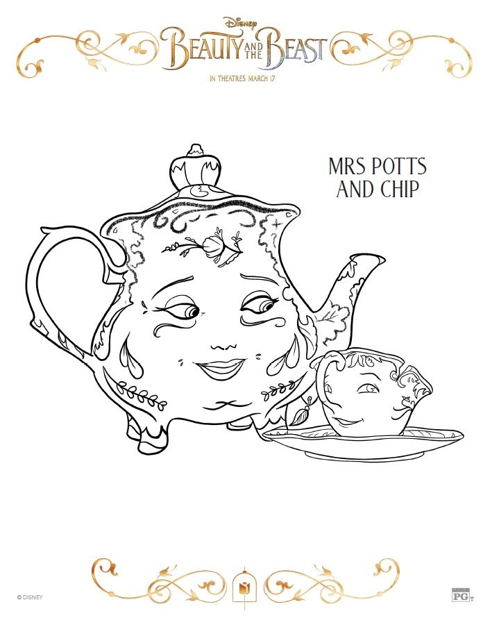 mrs potts and chip coloring page celebrate the tale as old time with free