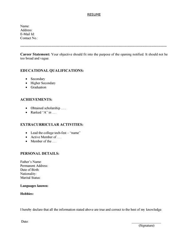 Download resume template for freshers in word format Jobs
