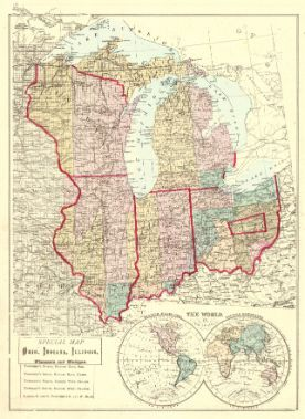 Special Map Of Ohio Indiana Illinois Wisconsin And Michigan 1875