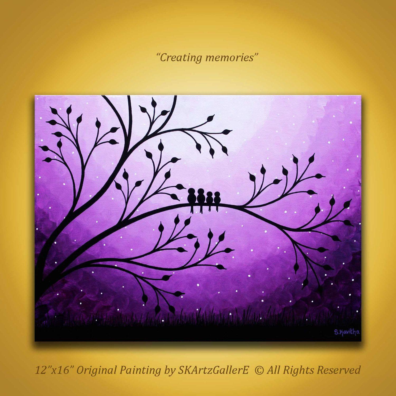 Purple paintings canvas