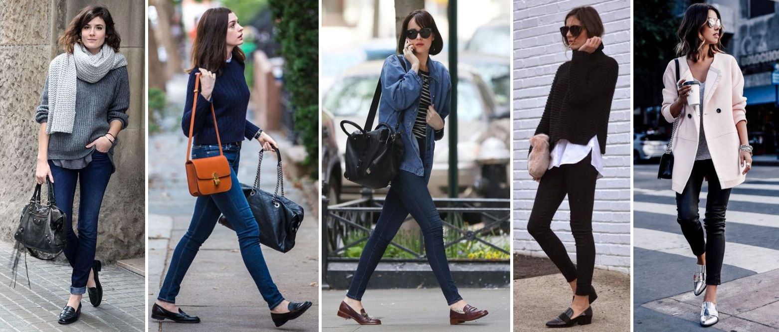 como usar loafer preto com calca skinny