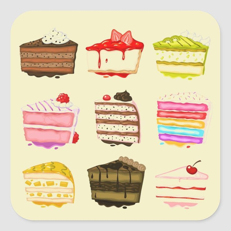 Cute Cake Birthday Cake With Colourful Cream Square Sticker Zazzle Com In 2020 Hand Painted Cakes Dessert Illustration Cake Vector