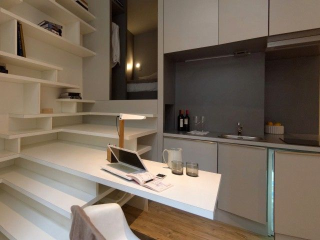 Un Studio De 27m2 Optimise Grace A Un Bloc Multifonction