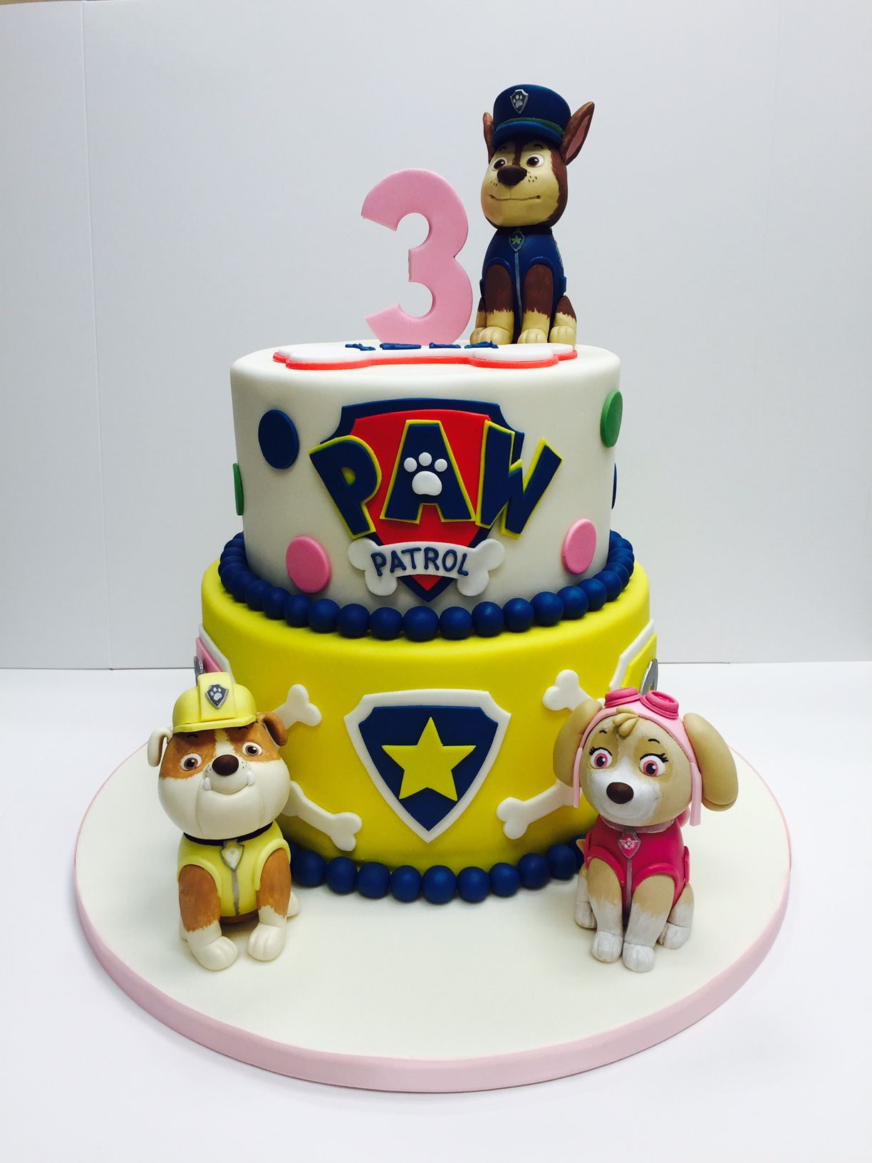 Birthday Cakes Images Toddler Kids Childrens In London Paw Patrol Cake White And Yellow Color Combination Amazing