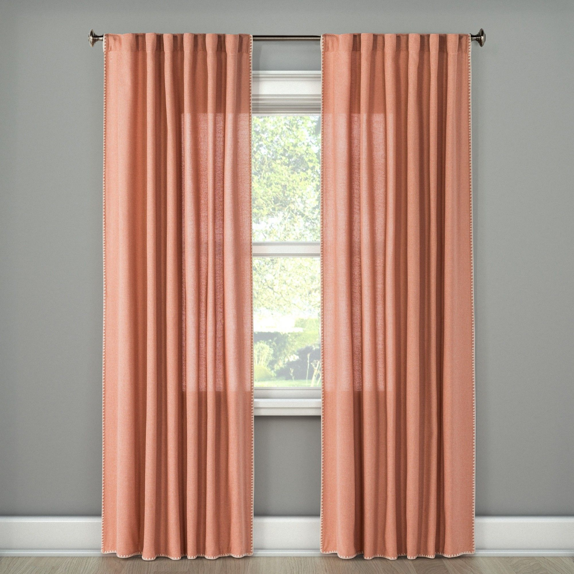 54 X84 Stitched Edge Curtain Panel Peach Threshold Living Room Decor Curtains Panel Curtains Curtains #peach #living #room #curtains