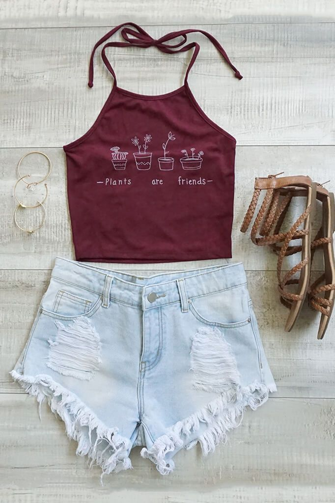 Of course plants are our friends! Let's keep that in mind when wearing this lovely suede halter crop top that features 'Plants are friends' writing on the front. Stretch fabric with interior lining un