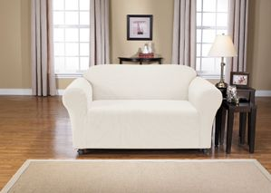 Montgomery II Bone Chair Slipcover. Deeply embossed box pattern with a soft luscious surface, form fit slip cover upholstery, living room, beautiful interior design, chic home decor