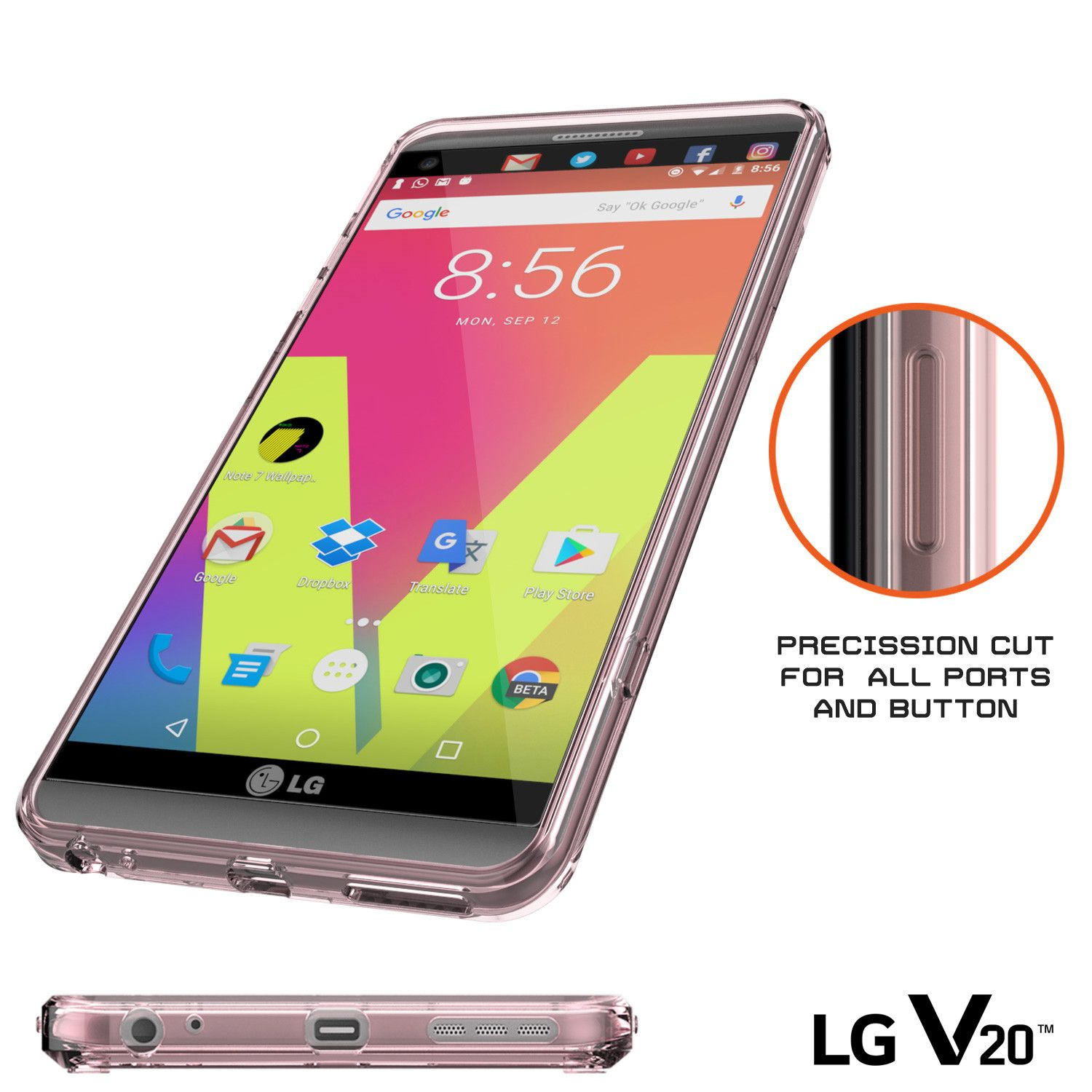 LG v20 Case Punkcase® LUCID 2.0 Crystal Pink Series w/ PUNK SHIELD ...