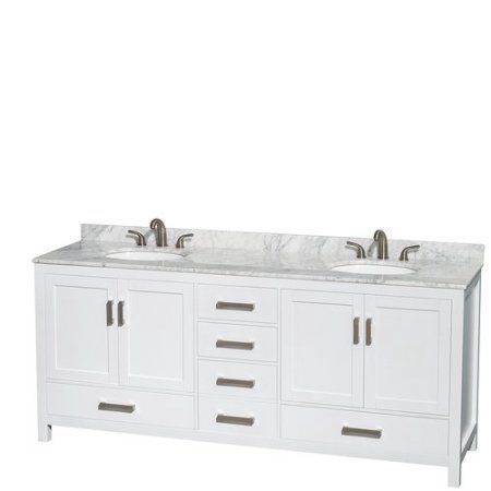 Best Photo Gallery For Website Wyndham Collection Sheffield inch Double Bathroom Vanity in White White Carrera Marble Countertop