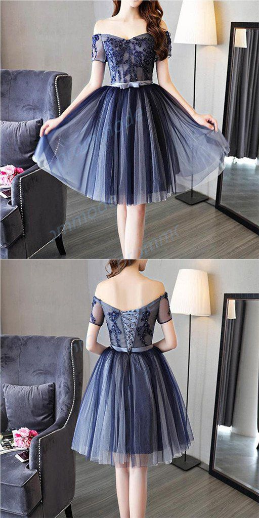 A-line Homecoming Dresses,Tulle Dark Blue Short Prom Dresses ...