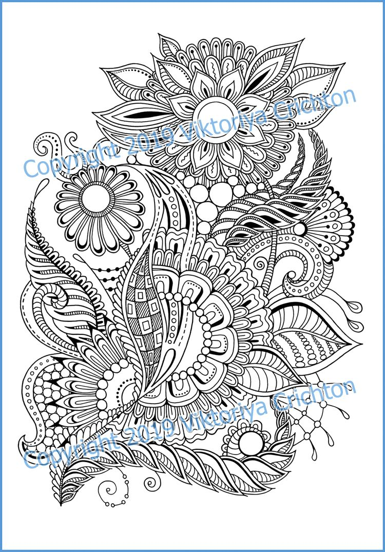 Doodle Zentangle Flowers Coloring Page For Adults Handmade Graphic Printable Doodle Inspired Zen Doodle Intricate Patterns In 2021 Coloring Pages Zentangle Flowers Flower Doodles