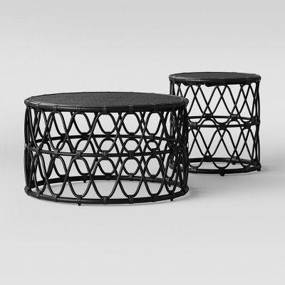 Jewel Round Coffee Amp Side Table Set Black Opalhouse