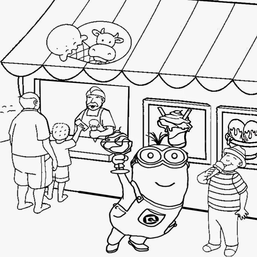 Seaside Shop Ice Cream Party Two Eyed Minion Coloring Pages Printable Kids Free Activities In Summer