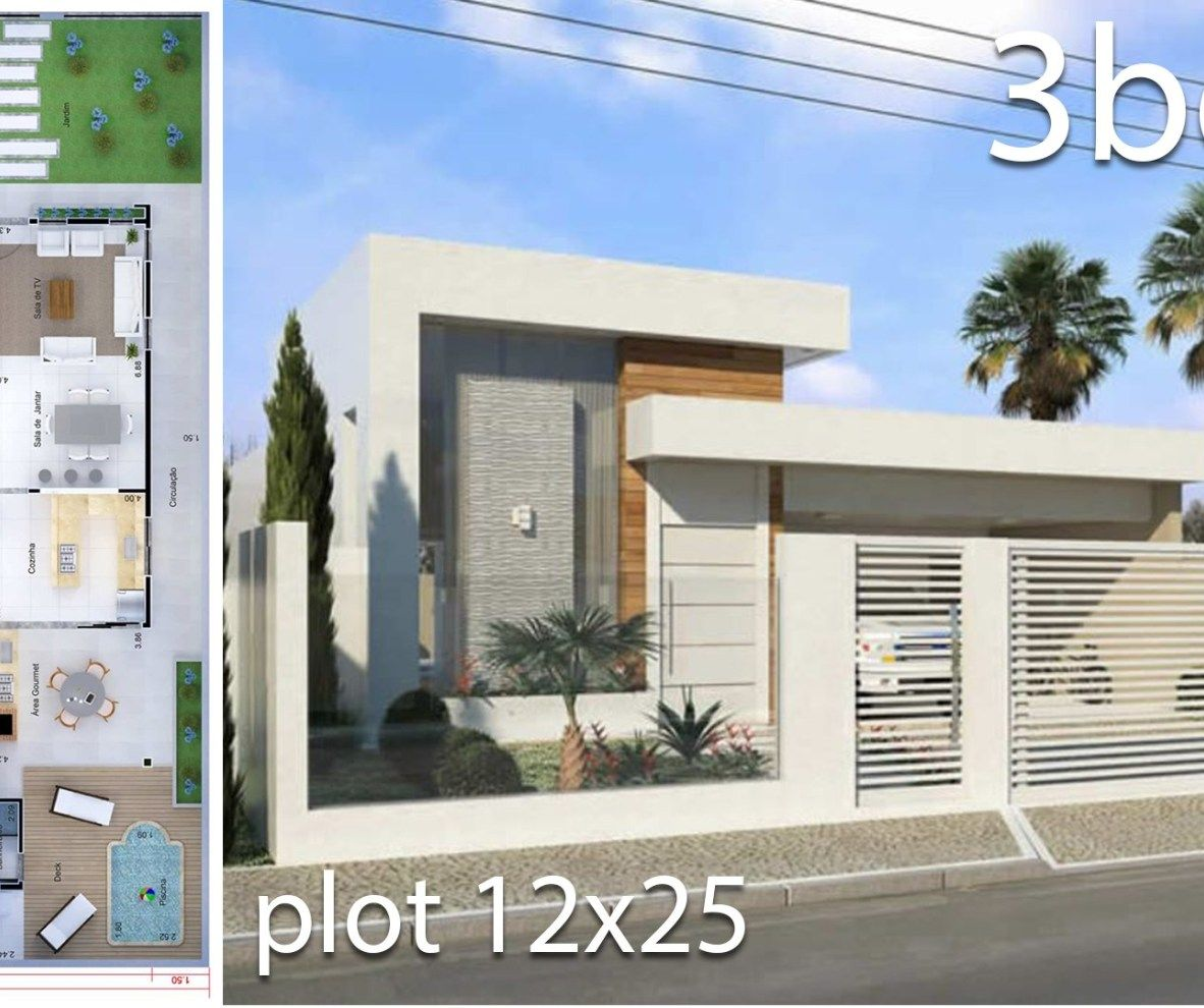 Home Design 10x25m With 3 Bedrooms Home Design With Plan House Design Facade House Concrete House